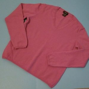 LORD & TAYLOR CASHMERE PLUM VNECK SWEATER EUC XL